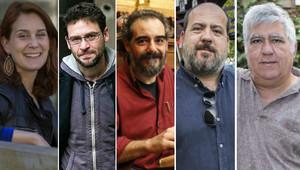 Los candidatos a las primarias de Podem: Jèssica Albiach, Albano DanteFachin, Raimundo Viejo, Óscar Guardingo y Rafael García.