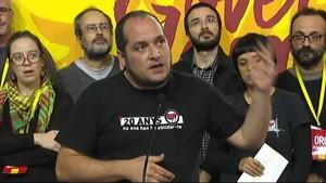 David Fernández, durante la rueda de prensa tras la asamblea en Manresa.