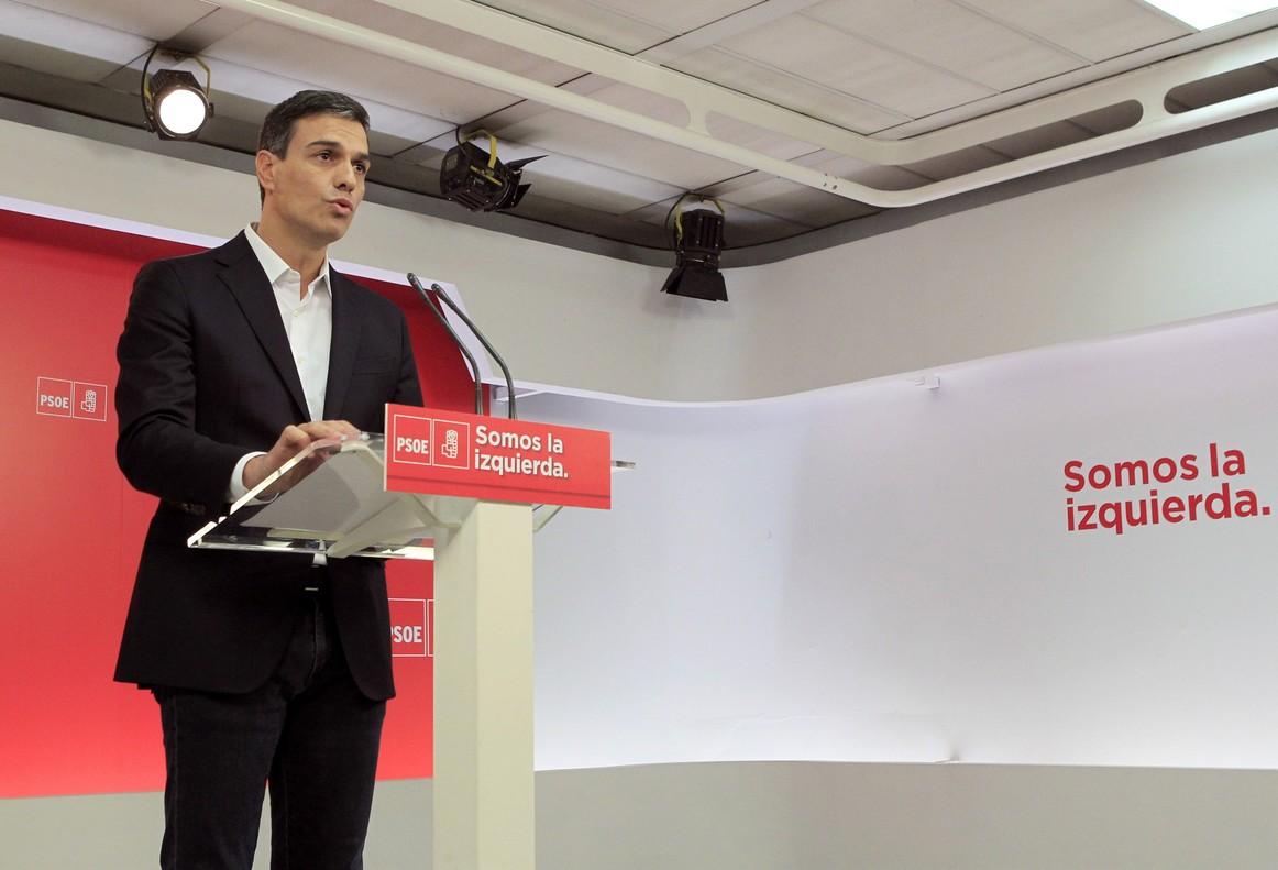 El secretario general del PSOE Pedro Sanchez durante unarueda de prensa.