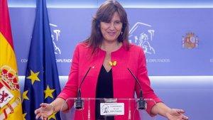 La diputada Laura Borràs en una reciente rueda de prensa.