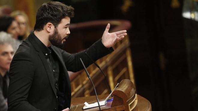 El dirigent d'Esquerra Republicana de Catalunya, Gabriel Rufián, ha aprofitat la seva intervenció per fer una declaració de principis.