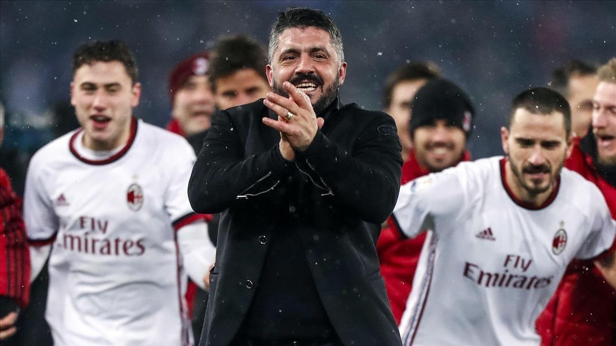 Gennaro Gattuso celebra un triunfo del Milan la pasada temporada.