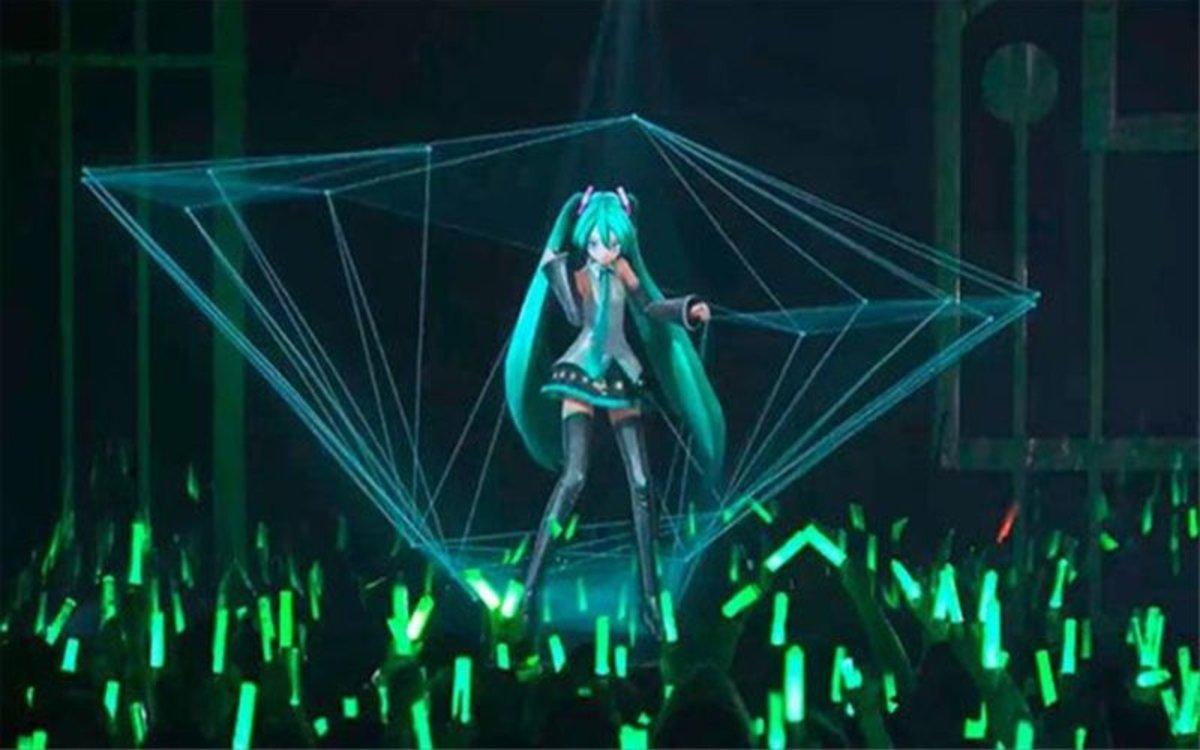 Hatsune Miku ofreciendo un concierto.
