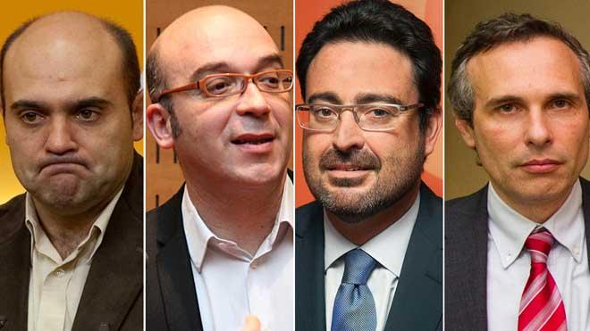 Hombres afines a Puigdemont, detenidos por supuesto desvío de fondos. En la foto,Xavier Vendrell, Oriol Soler,David Madí y Josep Lluís Alay, de izquierda a derecha.