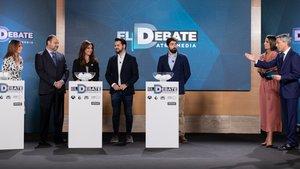 Imagen del sorteo de El debate a cinco que propuso Atresmedia.