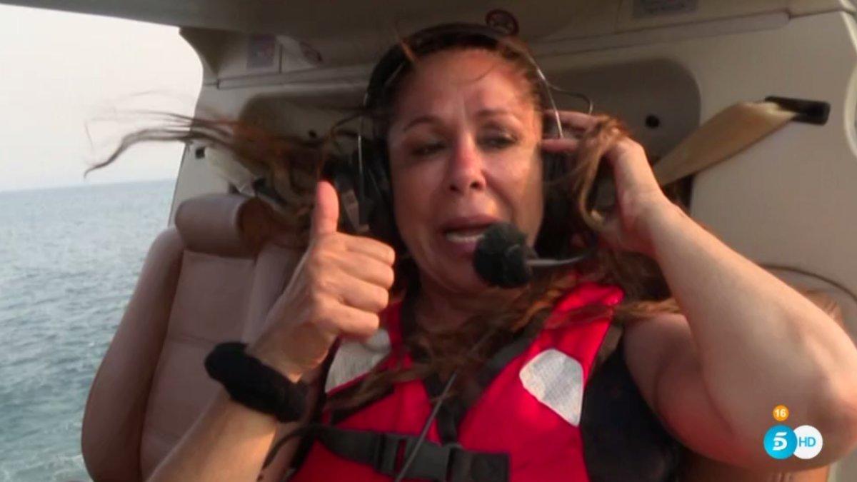 Isabel Pantoja en el helicóptero de 'Supervivientes 2019'.