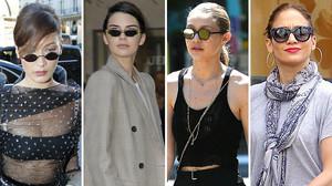 De izquierda a derecha, Bella Hadid, Kendall Jenner, Gigi Hadid y Jennifer Lopez.