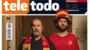 Javier Cámara y Julián López, de 'Fe de etarras', en la portada del 'Teletodo'.