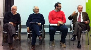 Joan Antoni Baron, Manuel Mas, David Bote y Joan Majó, las cuatro personas que se han presentado en nombre del PSC en unas elecciones municipales en Mataró desde 1979 hasta ahora, en un acto reciente.
