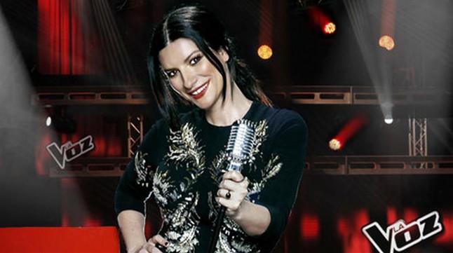 La cantante Laura Pausini, 'coach' del concurso musical de Tele 5 'La voz'.