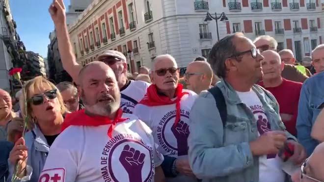 Manifestación de pensionistas en la Puerta del Sol de Madrid