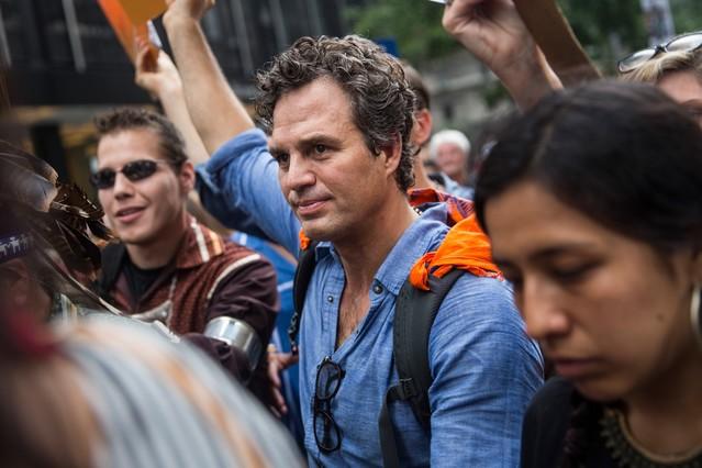 El actor Mark Ruffalo, en la marcha de Nueva York por el clima mundial.