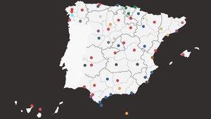 Mapa de los pactos y alcaldes de las principales ciudades de España