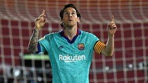 Messi festeja su gol en Mallorca, el 0-4 del Barça.