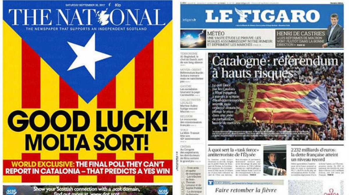 Les portades de la premsa internacional: pendents del referèndum de Catalunya