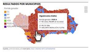 Resultados de las elecciones andaluzas 2018 por municipios | Mapa interactivo