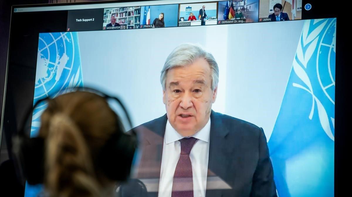 El secretario general de la ONU, Antonio Guterres, durante una videoconferencia el pasado mes de abril.