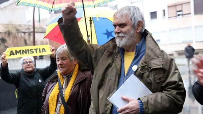 Artur Junqueras en una acto en apoyode su hijo en Manresa