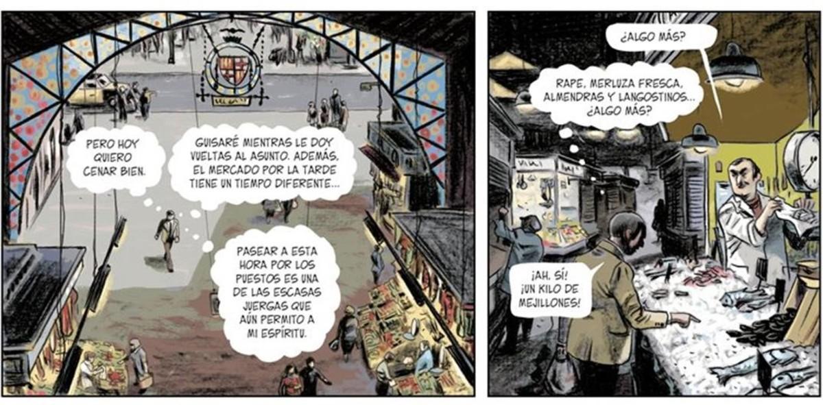 Viñetas de la adaptación al cómic de Tatuaje, un Carvalho de Vázquez Montalbán, de la mano de Migoya y Seguí.