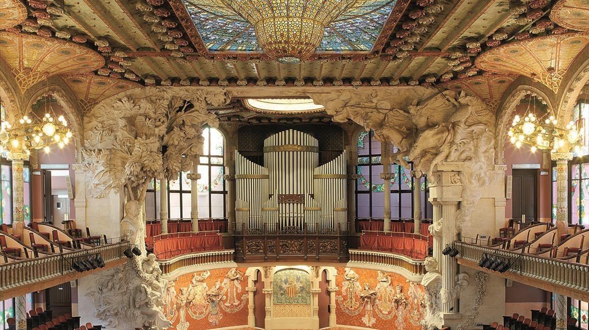 El espectacular interior modernista delPalau de la Música.