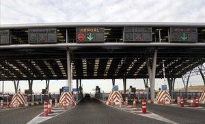 Peaje en la M-12, que une Madrid con el aeropuerto de Barajas.