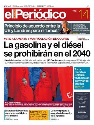La portada de EL PERIÓDICO del 14 de noviembre del 2018