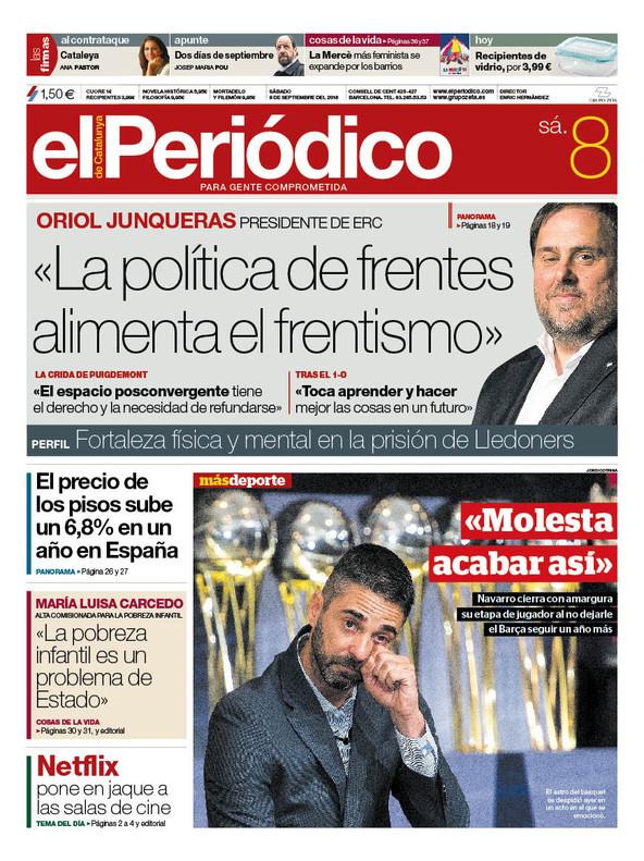 La portada de EL PERIÓDICO del 8 de septiembre del 2018