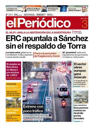 La portada de EL PERIÓDICO del 3 de enero del 2020.