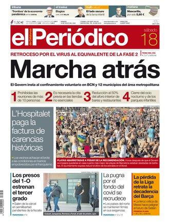 La portada de EL PERIÓDICO del 18 de julio.