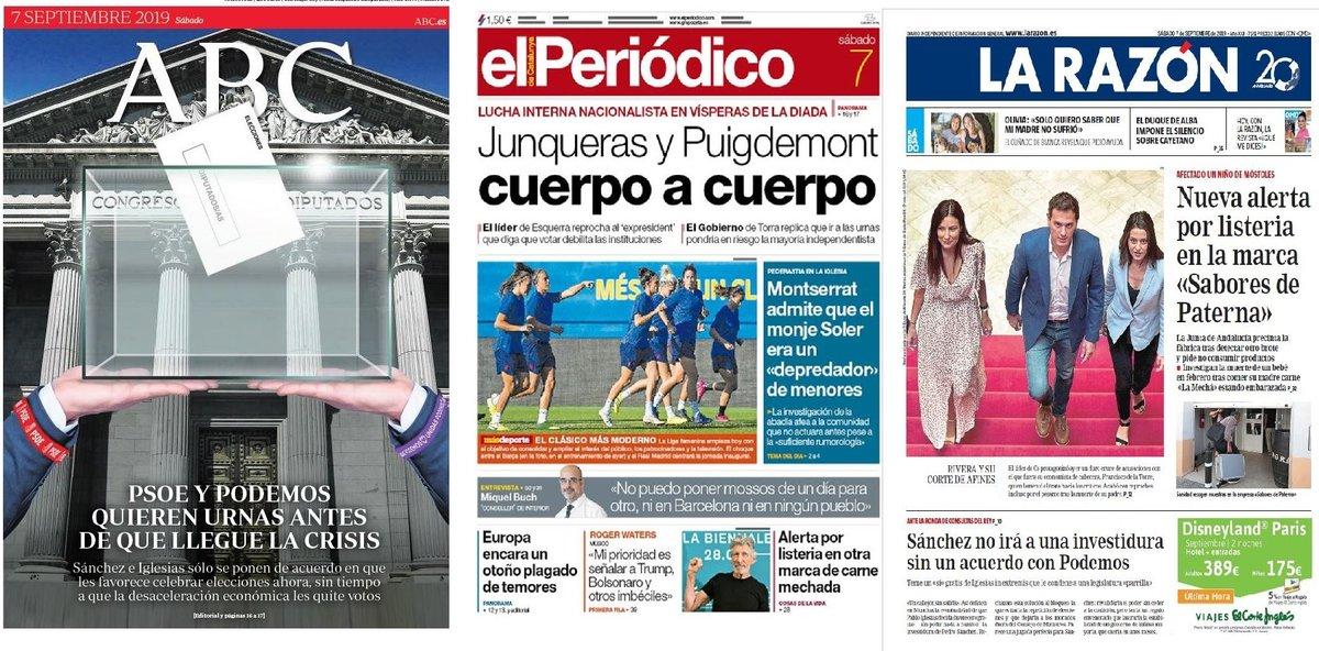 Prensa de hoy: Las portadas de los periódicos del sábado 7 de septiembre del 2019