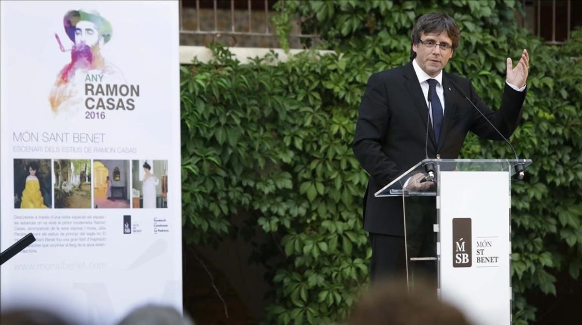 El 'president' de la Generalitat, Carles Puigdemont, este miércoles en el acto central del Any Casas en Món Sant Benet.