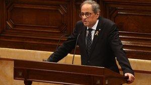 El president, Quim Torra, durante su intervención en la primera sesión del debate de política general, en el Parlament.