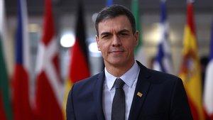 El presidente del Gobierno español, Pedro Sánchez, a su llegada a la cumbre europea, este jueves en Bruselas.