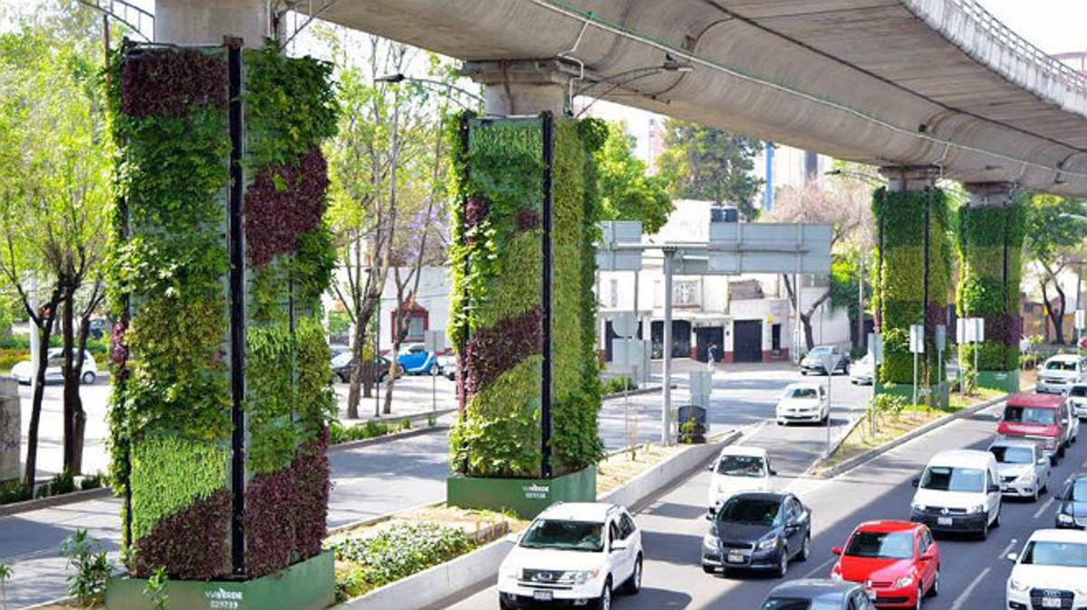 Ciudad de México instala jardines verticales para combatir la contamin