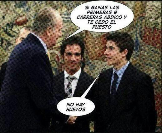 Conversación fictícea entre el Rey y Marc Márquez.