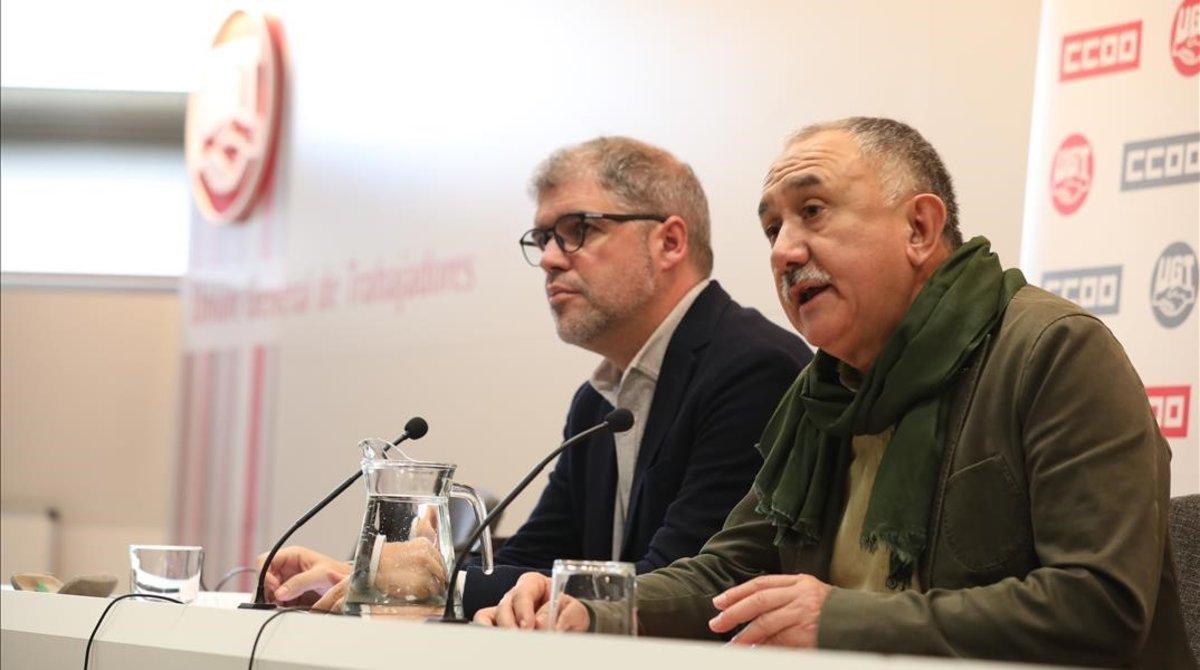 Los secretarios generales de CCOO, Unai Sordo, y de UGT, Pepe Álvarez, en una imagen de archivo.