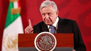 López Obrador, en una rueda de prensa.