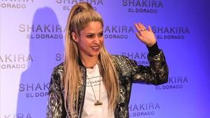 Shakira, en la presentación de su último disco, 'El Dorado', en el Convent dels Àngels, en Barcelona, en junio del 2017.