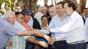 El líder del PP, Mariano Rajoy, este martes en un acto electoral en Almería.