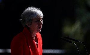 Theresa May, en la comparecencia en la que ha anunciado que deja el cargo el 7 de junio.