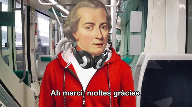 El Tram utiliza la figura del filósofo Kant en su última campaña para el civismo en los trenes.