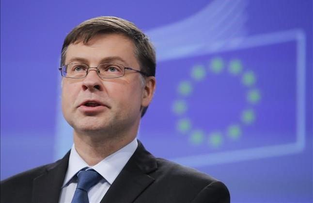 Elvicepresidente de la Comisión Europea,Valdis Dombrovskis, responsable de las propuestas para culminar la Unión Bancaria.