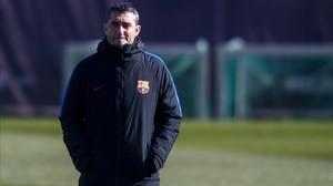 Valverde, en el último entrenamiento previo al duelo con el Getafe.