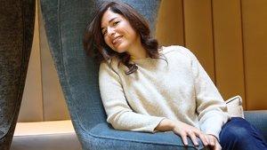 La escritora mexicana Guadalupe Nettel, en ocasión de ganar elpremio Herralde, en el 2014.