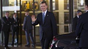 El Rey llega a la entraga de despachos en la Escuela Judicial, en el 2016.