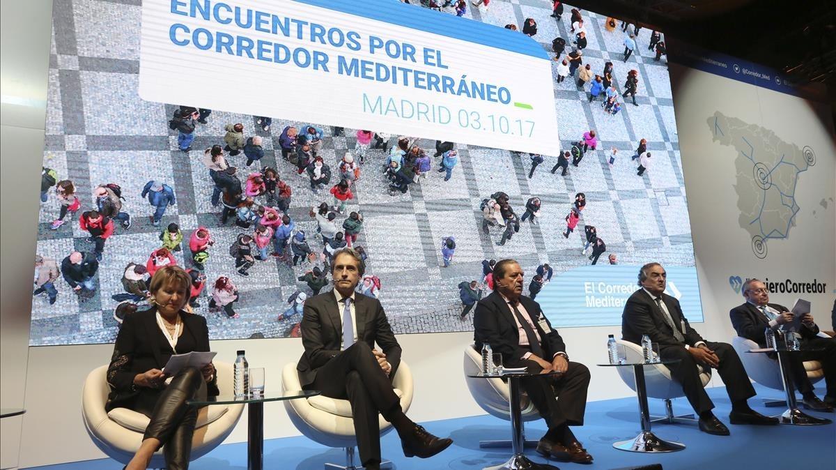 El ministro de Fomento, Íñigo de la Serna, durante el acto de apoyo al corredor del mediterráneo