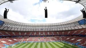 Imagen del estadio Luzhniki de Moscú, escenario de partido inaugural del Mundial de Rusia de fútbol.