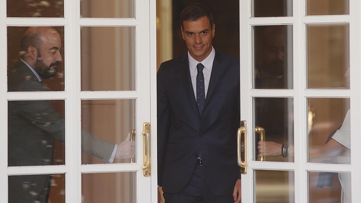 El presidente del Gobierno, Pedro Sánchez, en el palacio de la Moncloa.