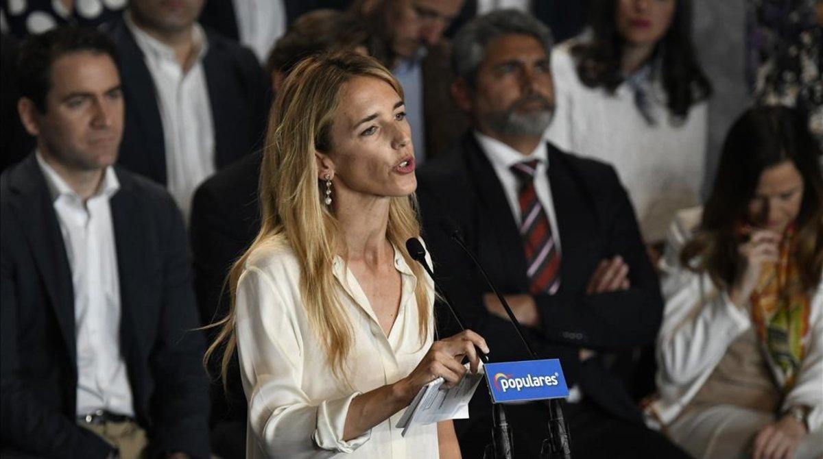 Cayetana Álvarez de Toledo,candidata numero uno del PP por Barcelona,interviene durante la presentacion de los cabeza de lista del partido para las proximas elecciones generales del 28 de abril.