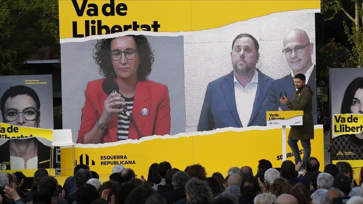 """Junqueras afirma que el PSOE """"no és de confiança"""" en el tancament de campanya d'ERC"""